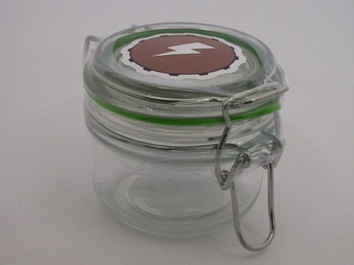 Minimalist Glass Stash Jar with Lightning Bolt Decal